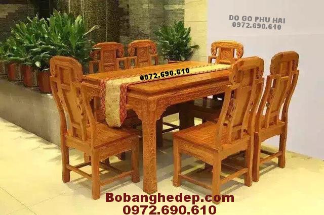 Bộ bàn ăn gỗ hương bàn chữ nhật 6 ghế BA93