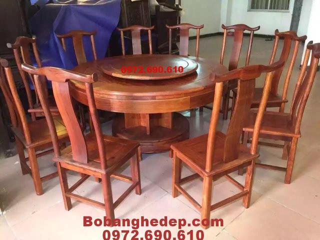 Bộ bàn ghế ăn bàn tròn xoay 10 ghế BA94
