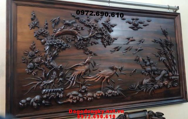 Tranh gỗ chạm khắc, Tranh khắc gỗ mỹ nghệ Bách Điểu T46