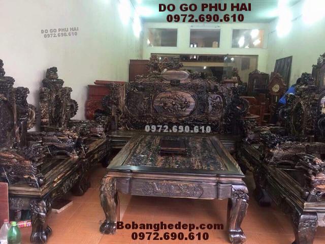 Bộ bàn ghế đẹp gỗ mun dành cho nhà Biệt thự B225