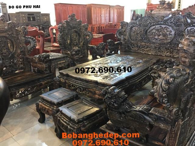 Bộ Bàn Ghế Gỗ Mun kiểu cửu long Cho Nhà Biệt Thự B227