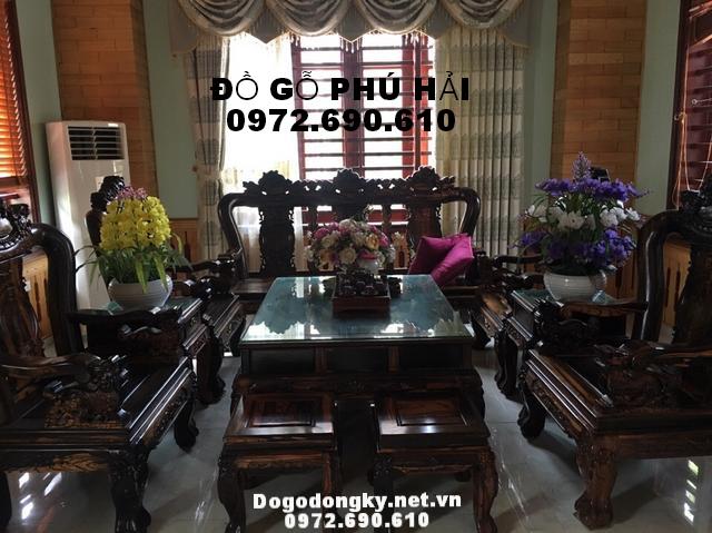 Bộ bàn ghế phòng khách, gỗ cẩm lai Vai 12 B228
