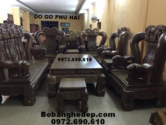 Bộ bàn ghế cho nhà biệt thự gỗ mun hàng hiếm B229