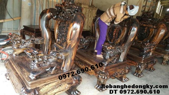 Bộ ghế cho phòng khách, Bộ ghế gỗ mun hoa Cột 18cm B233