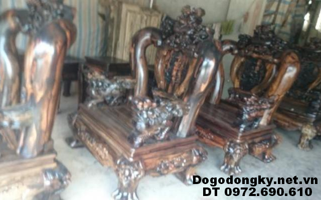Bộ bàn ghế gỗ mun hoa Cột 16cm dogodongky.net.vn B234
