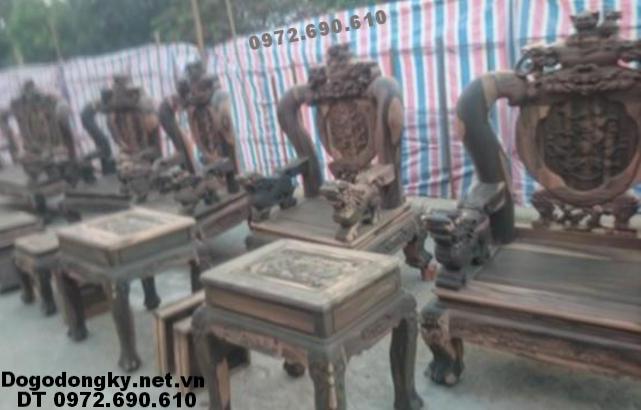 Bộ bàn ghế gỗ mun sọc, Mẫu Lân Đỉnh B235