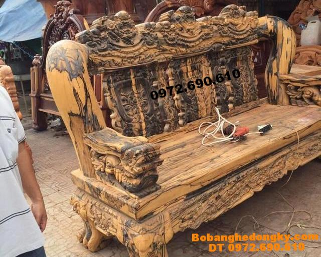 Bộ ghế gỗ Cẩm thị Cột 25cm khổng lồ cho đại gia B236
