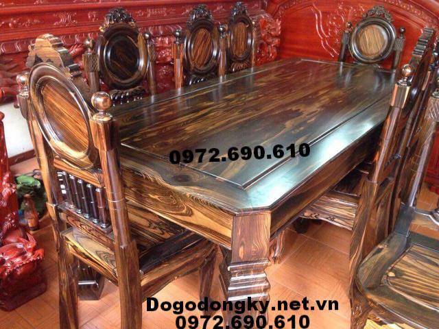 Bộ bàn ăn gỗ mun hoa, mẫu bàn ăn hiện đại BA100