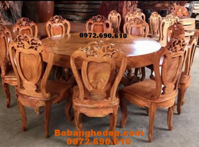 Bộ bàn ăn bàn tròn 10 ghế gỗ tự nhiên BA101
