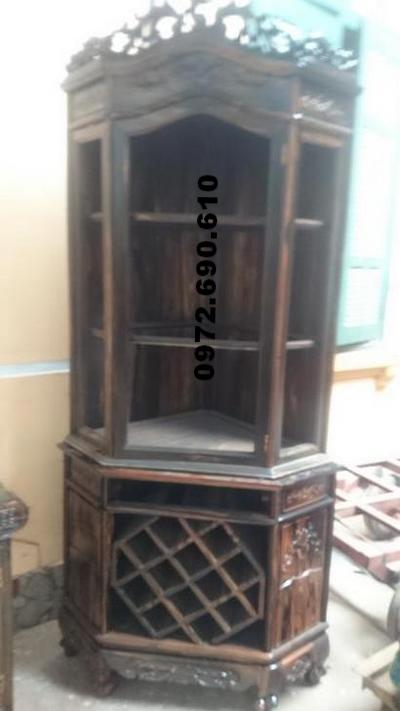 Tủ góc gỗ mun trang trí, Kệ góc bày rượu TG12