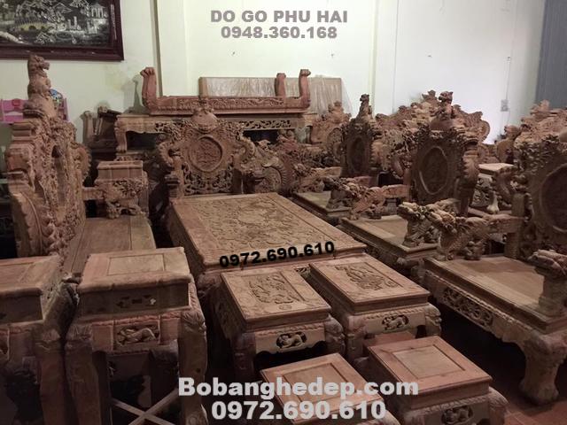 Bàn Ghế Đẹp Gỗ Hương Cho Nhà Biệt Thự B250