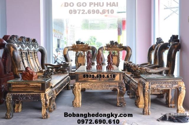 Bộ Bàn Ghế Gỗ Mun Đẹp Cho Phòng Khách Vip B.259 (Bo ban ghe go mun,do go dong ky,bo ban ghe dong ky,bo ban ghe dep, ban ghe go mun hoa mun soc, Bo ban ghe phong khac vip)