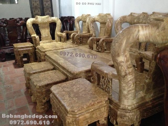 Bàn Ghế Phòng Khách Gỗ Ngọc Nghiến Cột 16cm B260