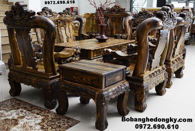 Bộ Bàn Ghế Gỗ Mun Hoa Đục Nghê Cột 16cm B.262 (Bàn ghế gỗ mun hoa, Bàn Ghế gỗ đồng kỵ, bộ bàn ghế gỗ, bộ bàn ghế đẹp, do go dong ky,ban ghe go mun hoa, đồ gỗ nội thất, bo ban ghe dep)