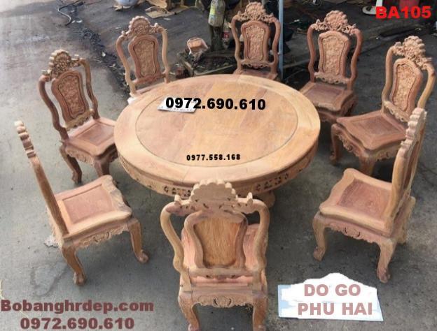 bộ bàn ghế phòng ăn đẹp,go huong, Bo ban ghe phong an ban tron, Bộ bàn ăn, Bộ bàn ghế phòng ăn đẹp bàn tròn, Bộ bàn ghế ăn chất liệu gỗ đinh hương