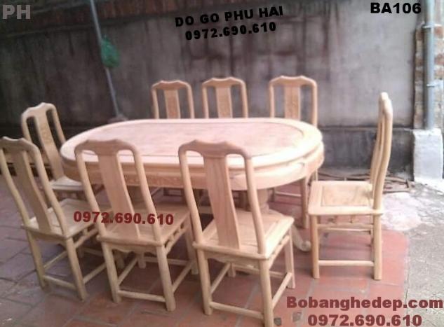 Bộ bàn ghế (Phòng Ăn) đẹp, bàn bầu dục BA106