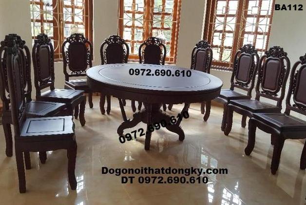 Bàn Ghế Phòng Ăn, Bộ bàn ăn Gỗ đẹp bàn tròn BA112