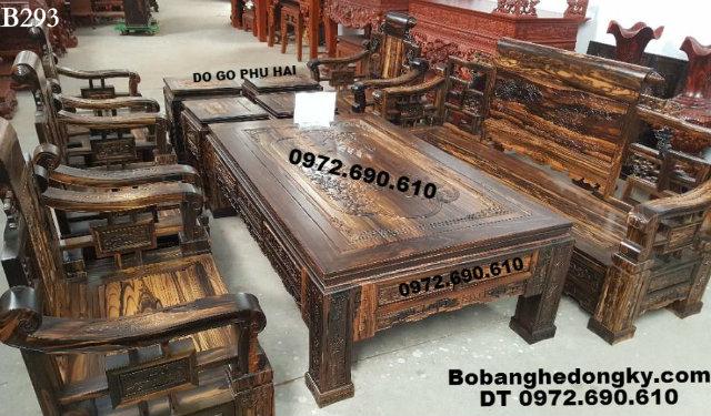 18 Mẫu bộ bàn ghế đồng kỵ đẹp gỗ mun hoa, mun sọc B293