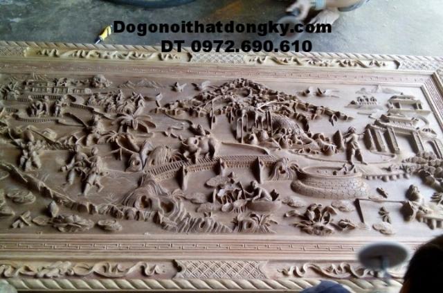 Tranh điêu khắc gỗ, Tranh quê hương thanh bình T23
