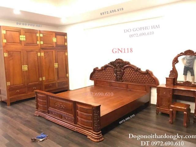 Những Mẫu Giường Ngủ Gỗ Đẹp Kiểu Dáng Mới GN118