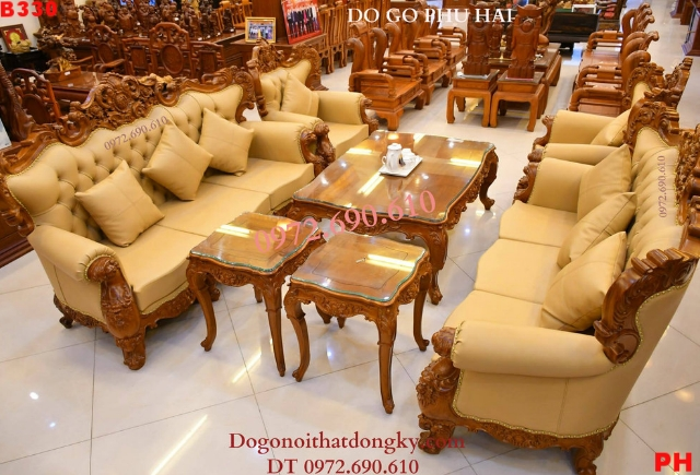 Bộ Bàn Ghế Đẹp Sofa Đệm Mút Kiểu Châu Âu B330