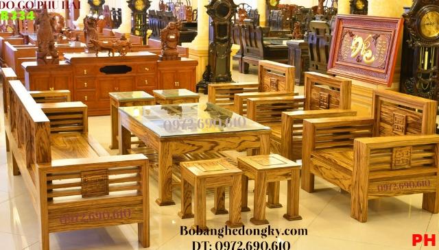 Bộ bàn ghế phòng khách kiểu hiện đại gỗ mun B334