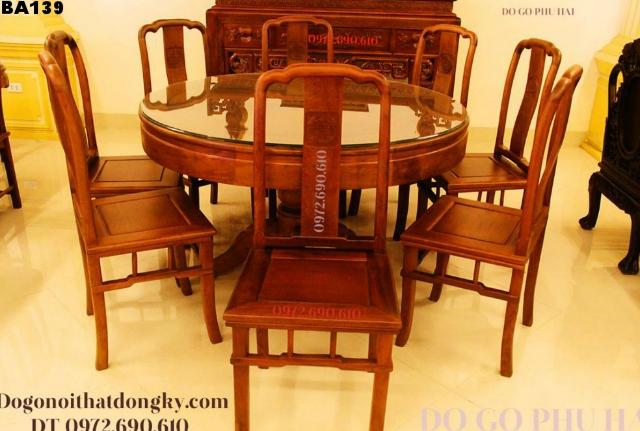 BỘ BÀN GHẾ ĂN ĐẸP kiểu Archives bàn tròn 8 ghế BA139