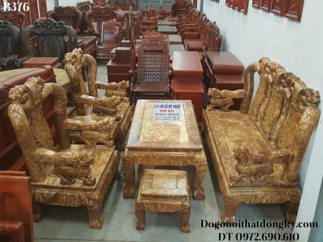 Bộ Bàn Ghế Gỗ Nu Nghiến Tay Nghê Cột 12cm B376
