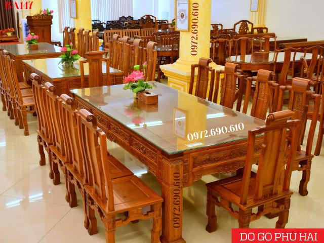 Bộ Bàn Ghế Phòng Ăn Đẹp Và Sang 10 Ghế Gỗ Hương BA147