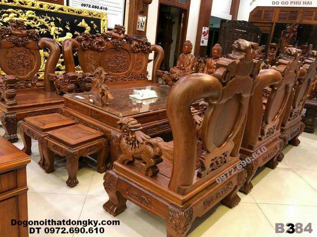 Bán Bộ bàn ghế gỗ Hương Đá Quốc Nghê Cột 14cm Tại Thanh H...