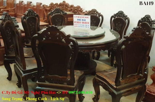 Mẫu Bàn Ghế Phòng Ăn Gỗ Mun Đẹp 10 Ghế Bàn Tròn Xoay BA149