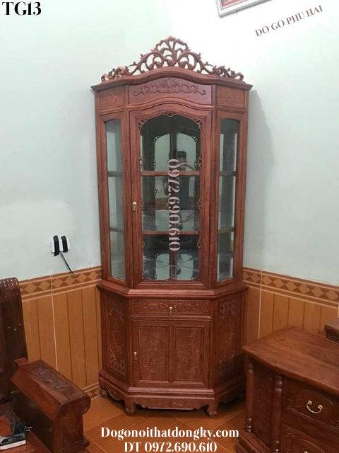 TỦ GỐC BÀY RƯỢU, Tủ Góc Trưng Bày Phòng Khách TG13