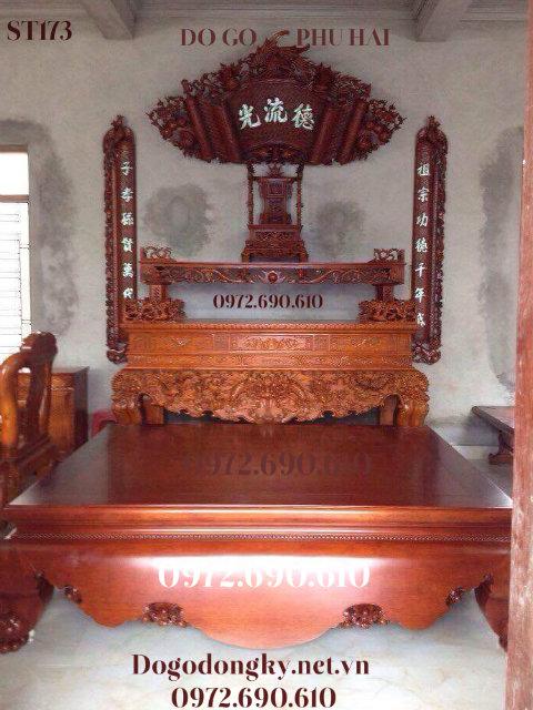 Bộ Bàn Thờ Gia Tiên Đẹp Cho Phòng Thờ Trang Nghiêm ST173
