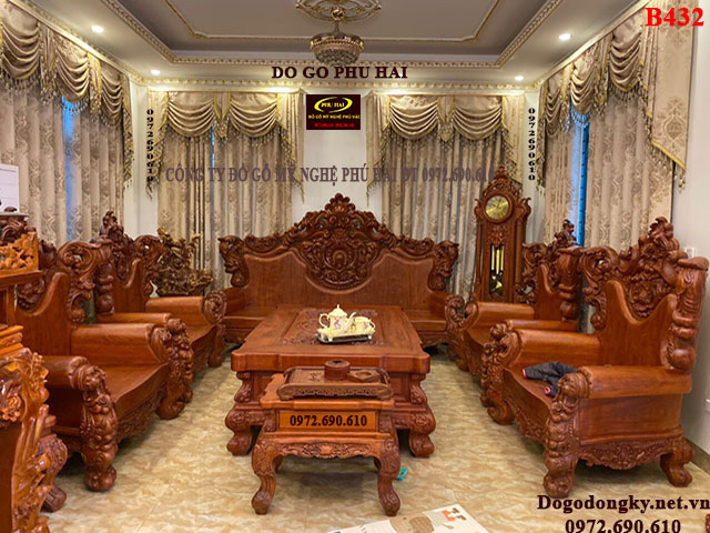 Bàn Ghế Hoàng Gia Gỗ Gõ Đỏ Siêu Đẹp B432