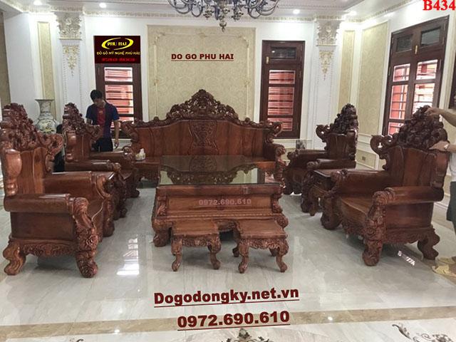 Bộ Bàn Ghế Gỗ Đẹp Mẫu Hoàng Gia Cho Phòng Khách Vip B434