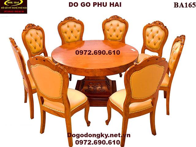 Bộ Bàn Ghế Phòng Ăn Đẹp & Sang Trọng 8 Ghế Bàn Tròn BA165