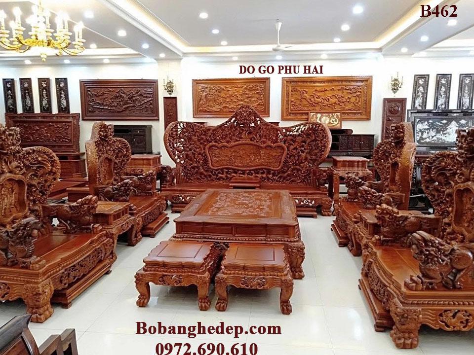 Bộ Bàn Ghế Gỗ Hương Lào Hàng Khủng Cửu Long Bát Mã B462