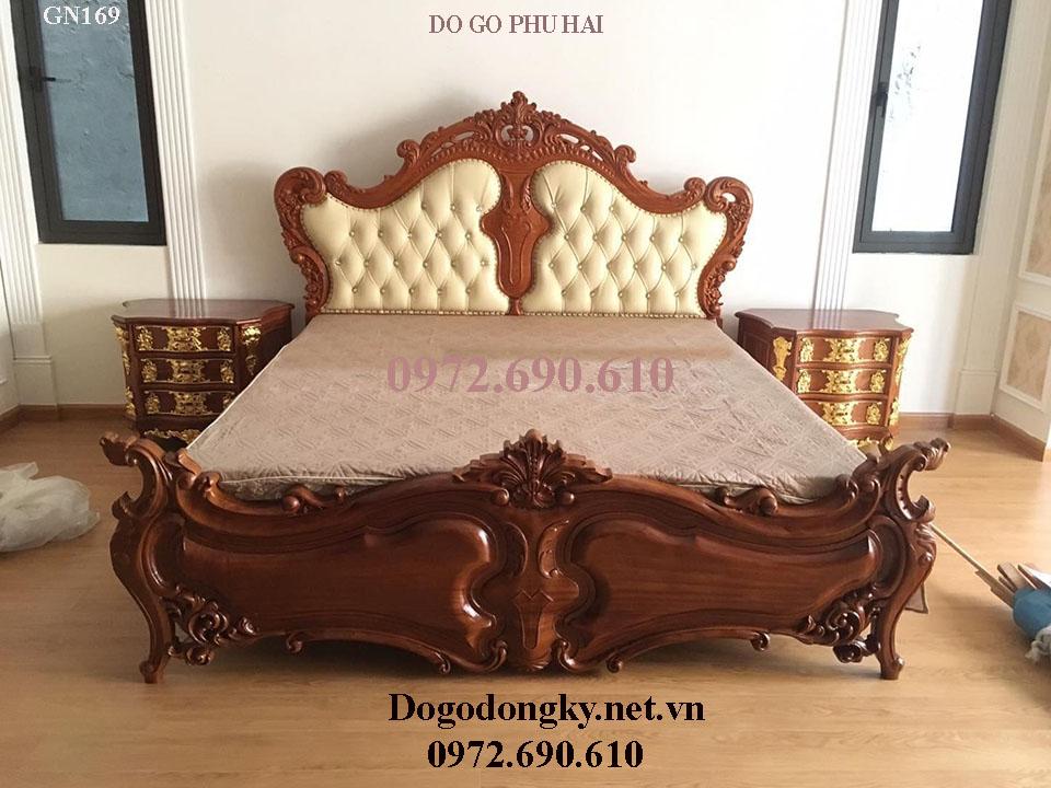 Giường Ngủ Đẹp Bọc Da Mẫu Tân Cổ Điển GN169