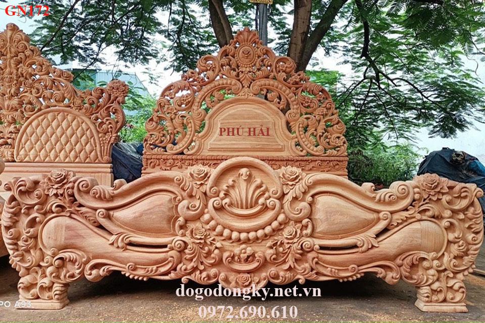Mẫu Giường Ngủ Siêu Khủng Nhất | Đồ Gỗ Phú Hải GN172