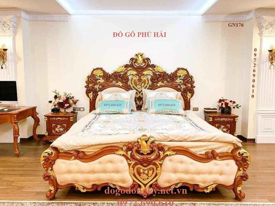 Giường Ngủ Victoria Tân Cổ Điển Dát Vàng | Đồ Gỗ Phú Hải GN176