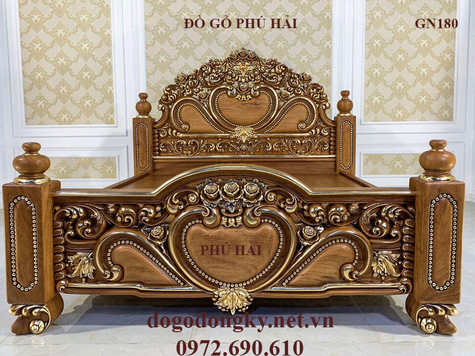Giường Ngủ Hoàng Gia LUXURY Chạm Tim Dát Vàng GN180