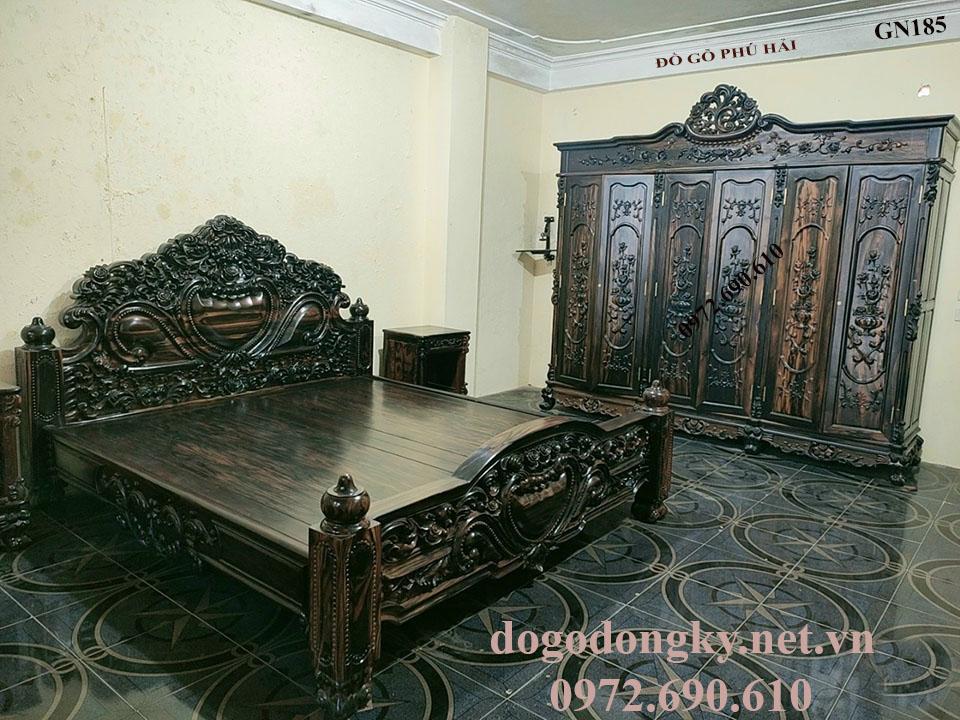 Bộ Giường Tủ Gỗ Mun Dành Riêng Cho Phòng Ngủ VIP GN185