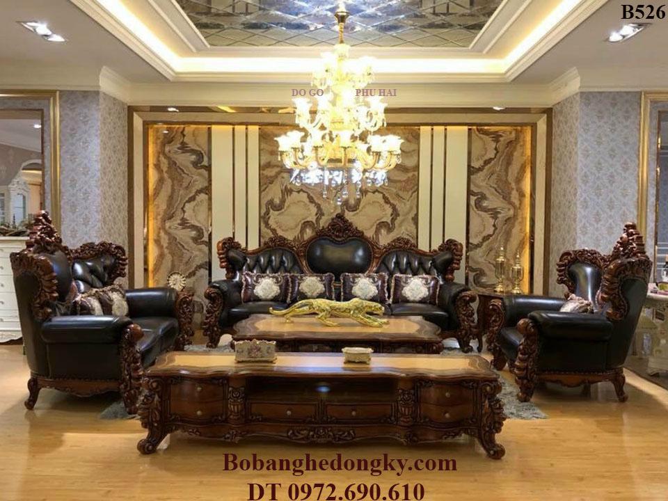 Bộ Bàn Ghế Sofa Da Thật Mẫu Đẹp Cho Nhà Biệt Thự B526